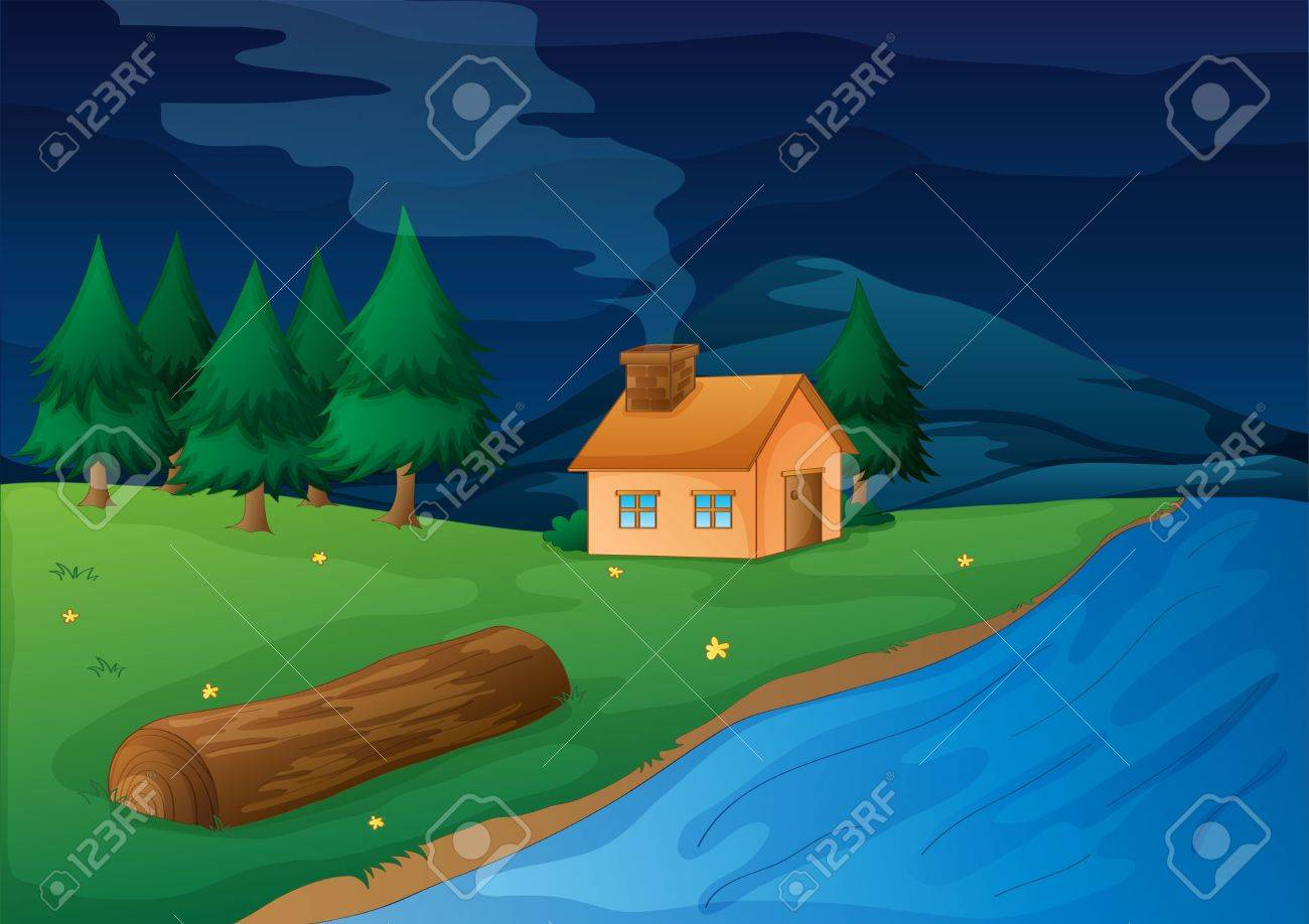 illustration of a house and river in a beautiful nature Stock Vector - 15592088