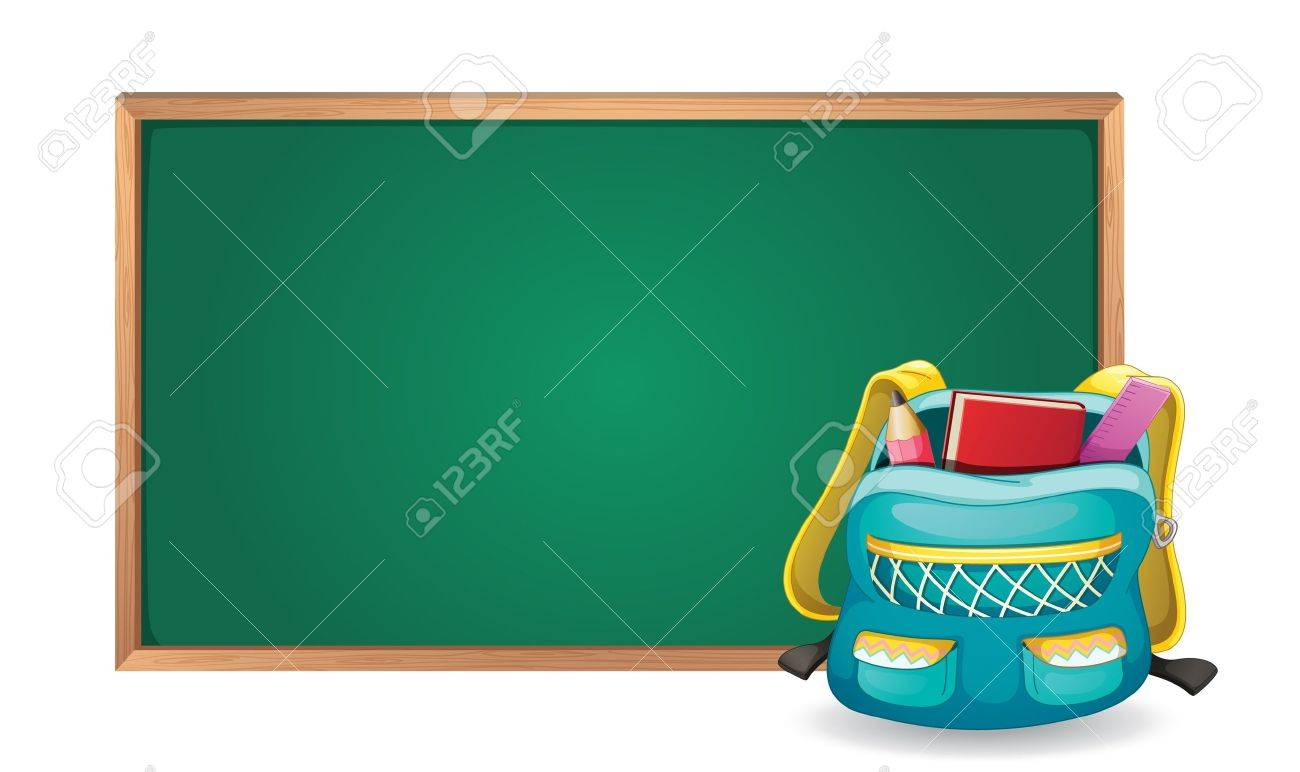 illustration of a green board and school bag on white background Stock Vector - 15609629