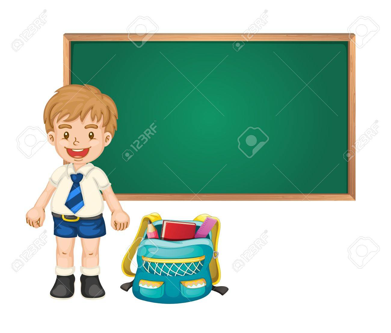 illustration of a boy and green board on white background Stock Vector - 15667638