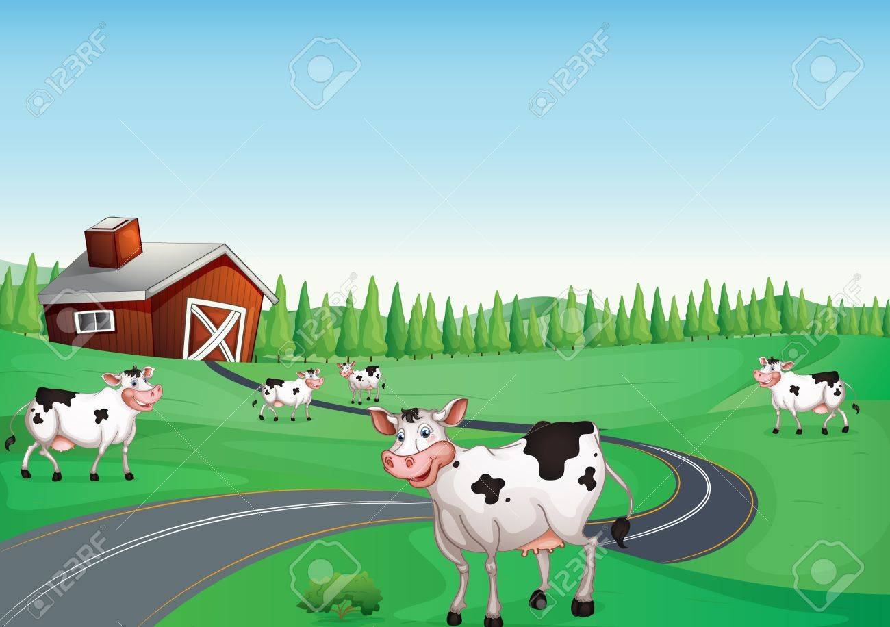 illustration of a house and a cow in a beautiful nature Stock Vector - 15668265