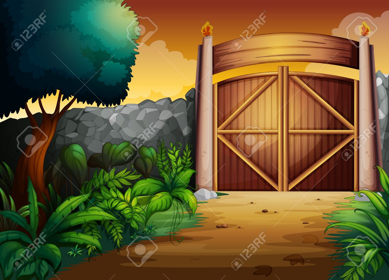 illustration of gate in a beautiful nature Stock Vector - 15809988