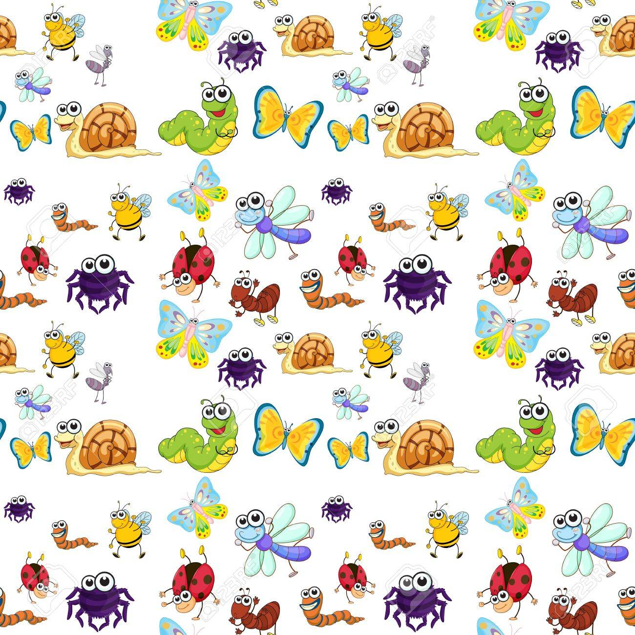 illustration of  various insects on a white background Stock Vector - 15809901