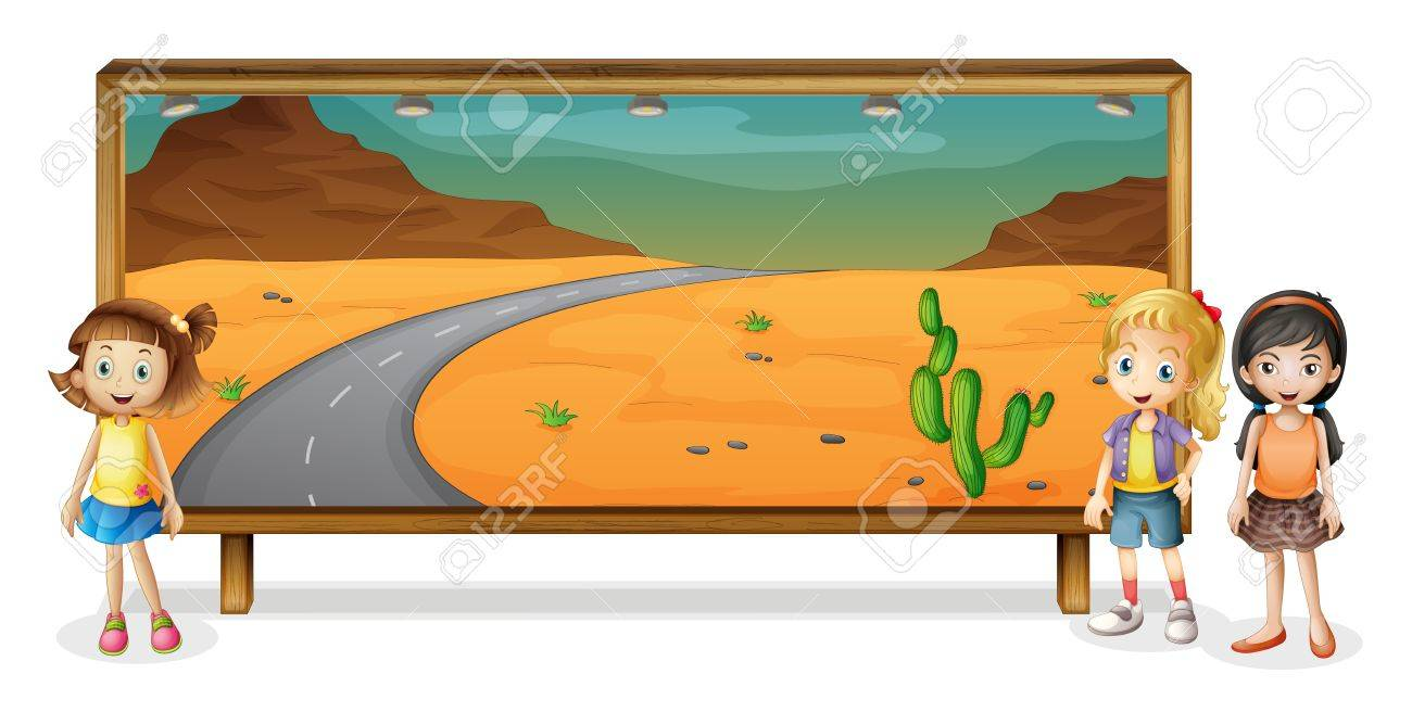 illustration of girls and a board on a white background Stock Vector - 15810497