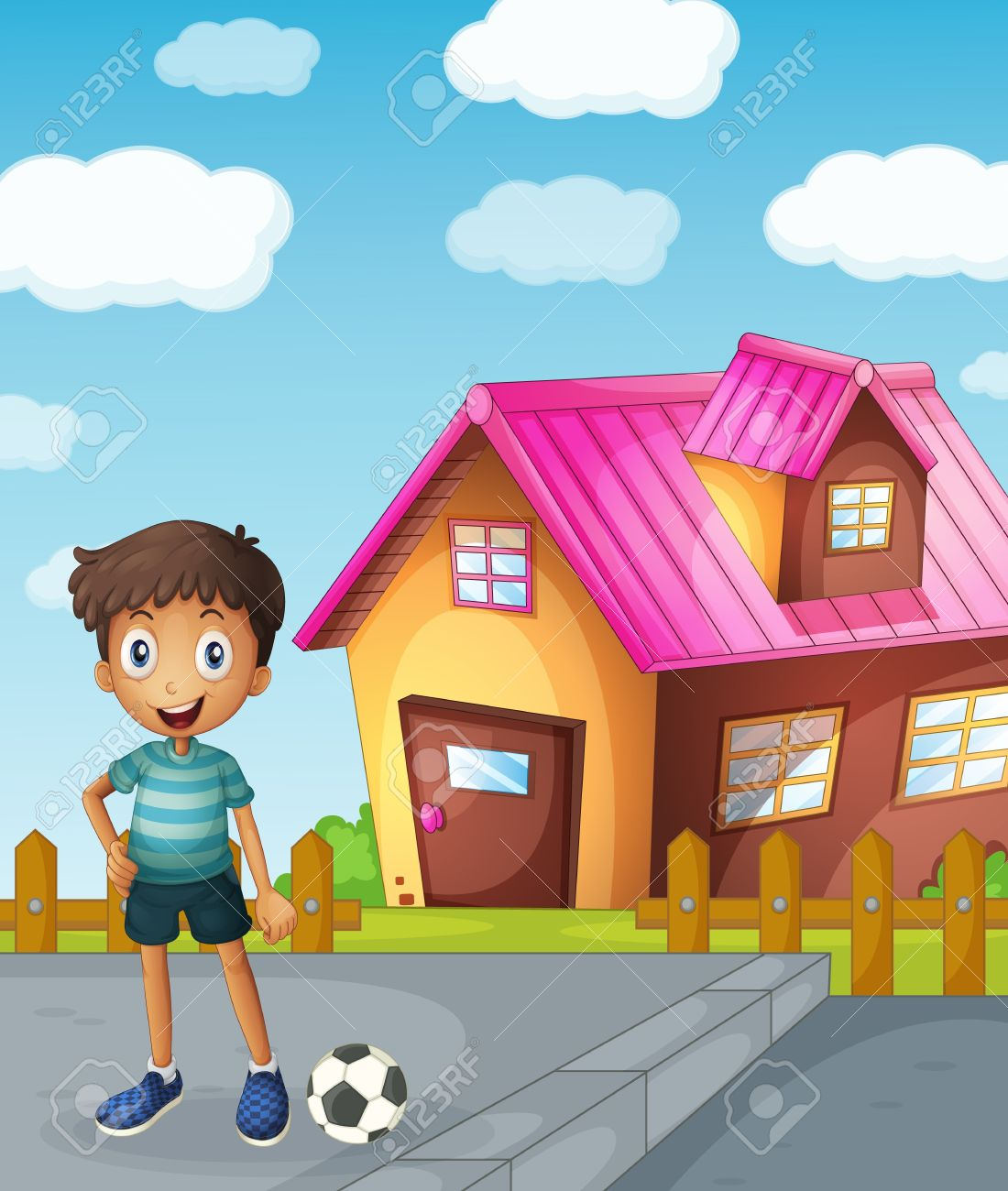 illustration of a boy, a football and a house Stock Vector - 15810450