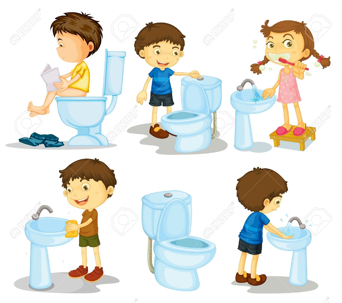 白い背景の上の子供および浴室の付属品のイラスト ロイヤリティフリー