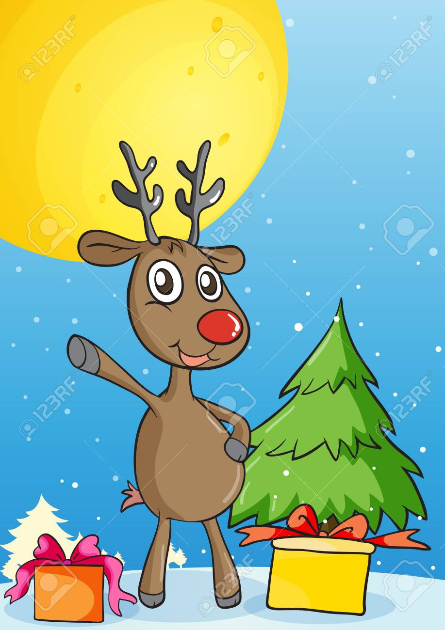 illustration of reindeer in a beautiful nature Stock Vector - 15869612