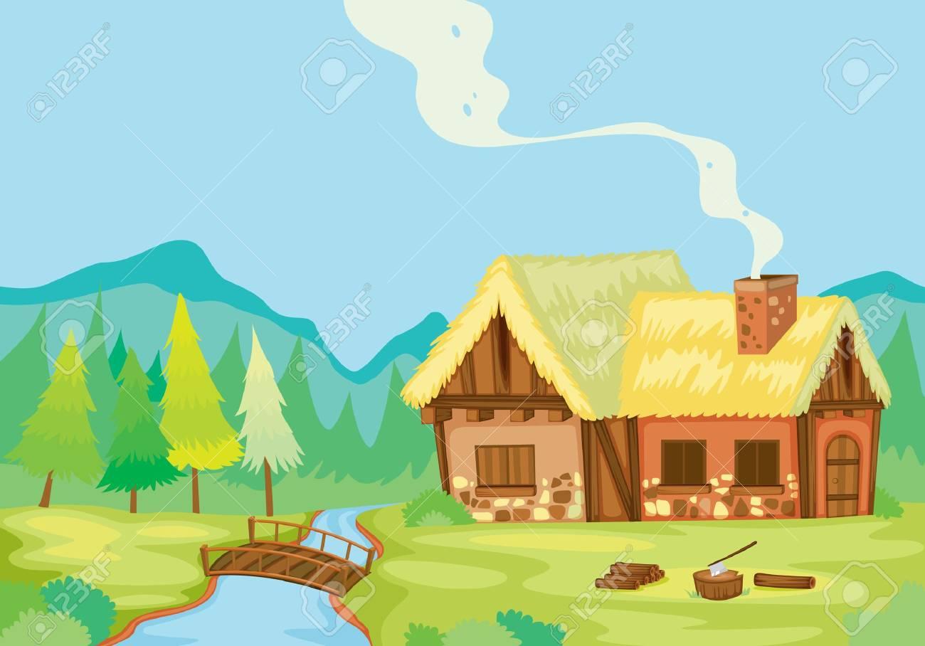 Illustration Détaillée Dune Maison Dans La Nature