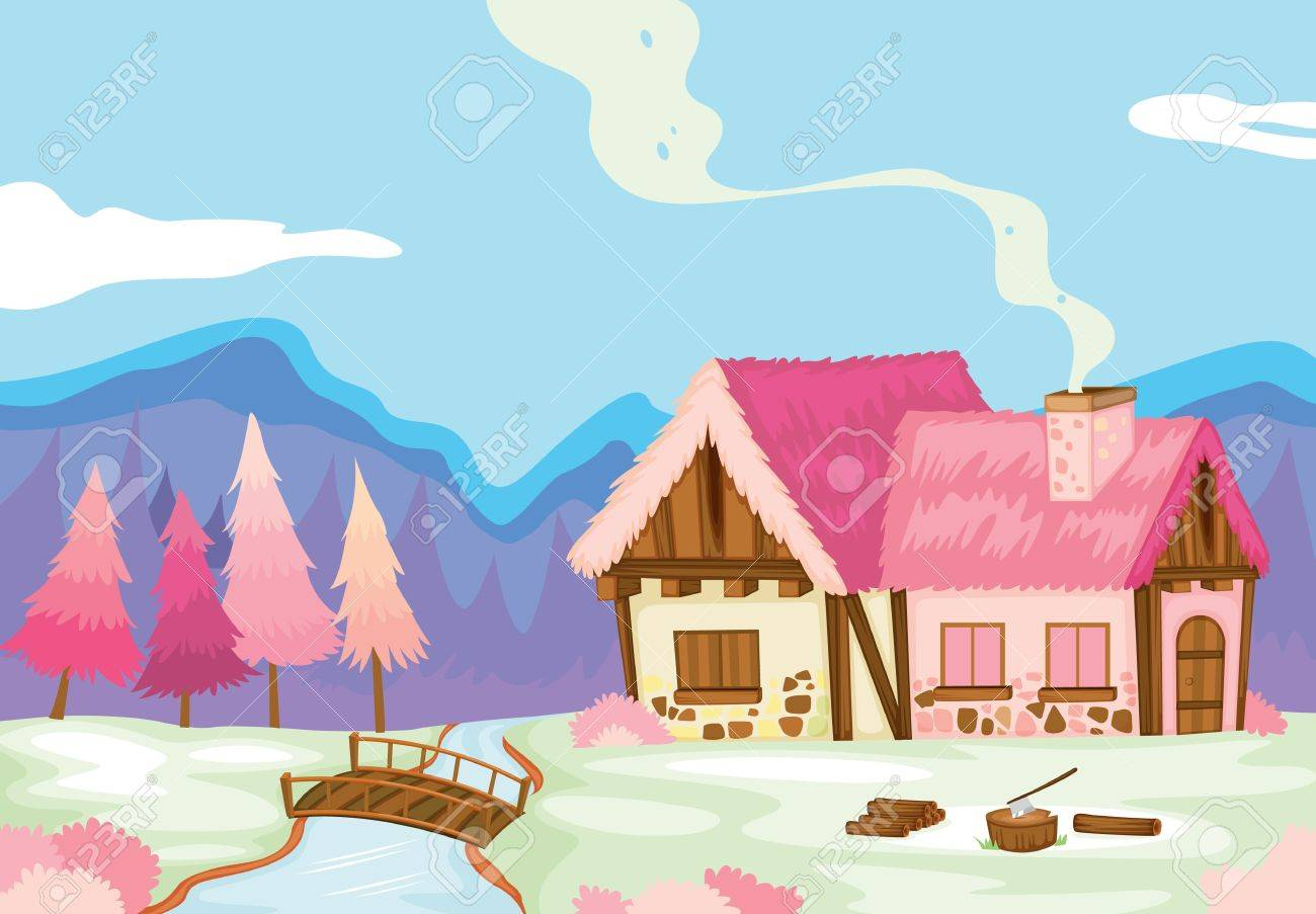detailed illustration of pink house in beautiful nature Stock Vector - 15864105