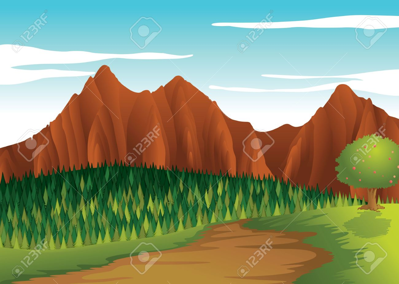 illustration of a beautiful landscape with brown mountain Stock Vector - 15864234