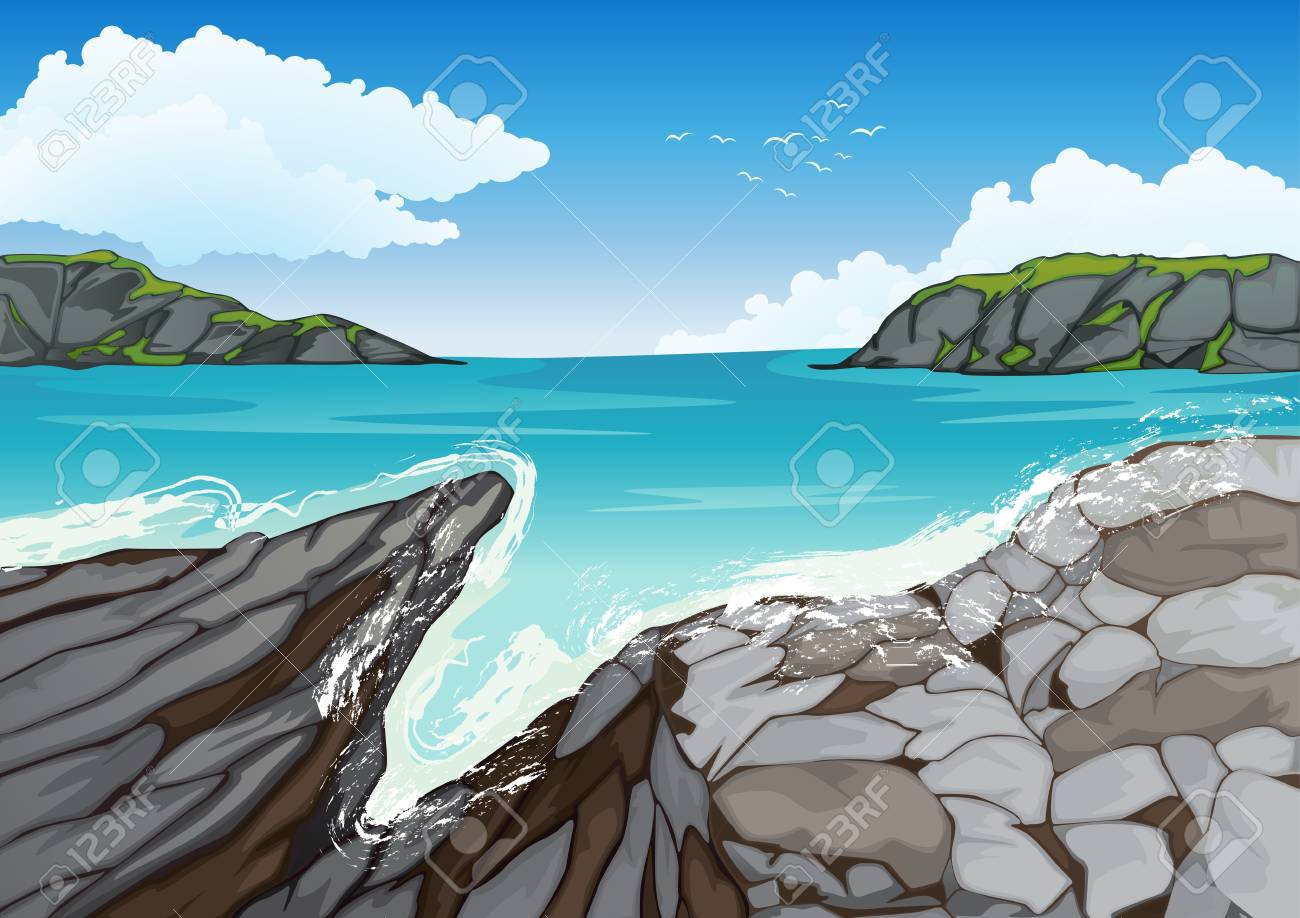 illustration of a beautiful coast with natural stone wall Stock Vector - 15864242