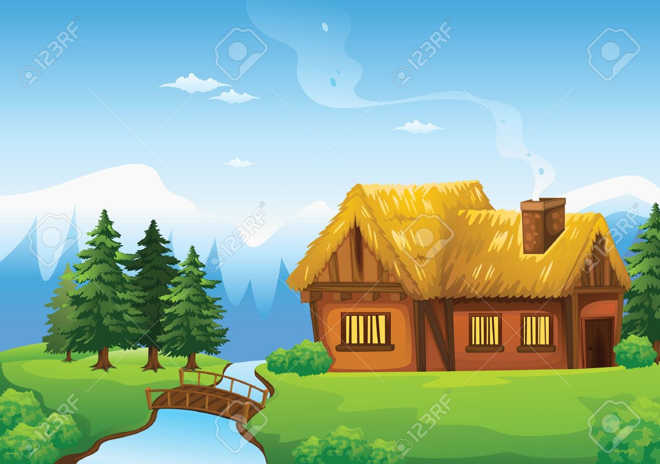 illustration of a house and bridge in beautiful nature - 15864232