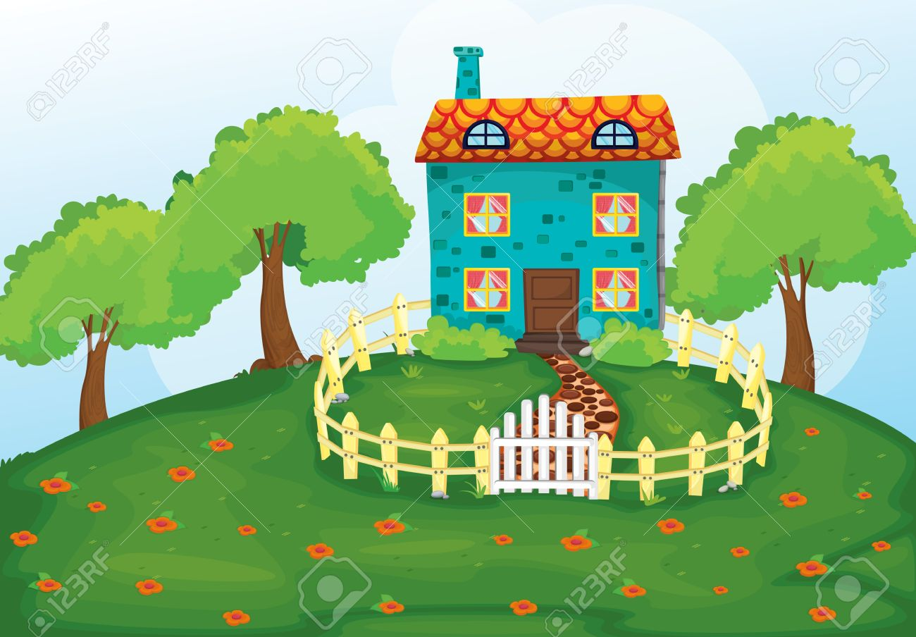 Illustration of a house in a beautiful nature stock vector 15864238