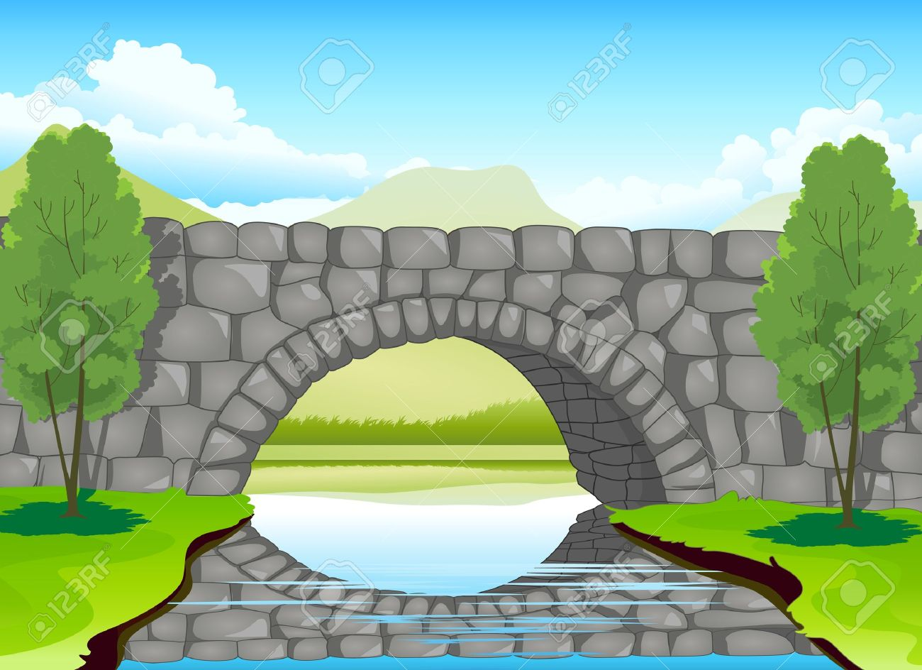 illustration of a beautiful bridge madeup of stones Stock Vector - 15864239