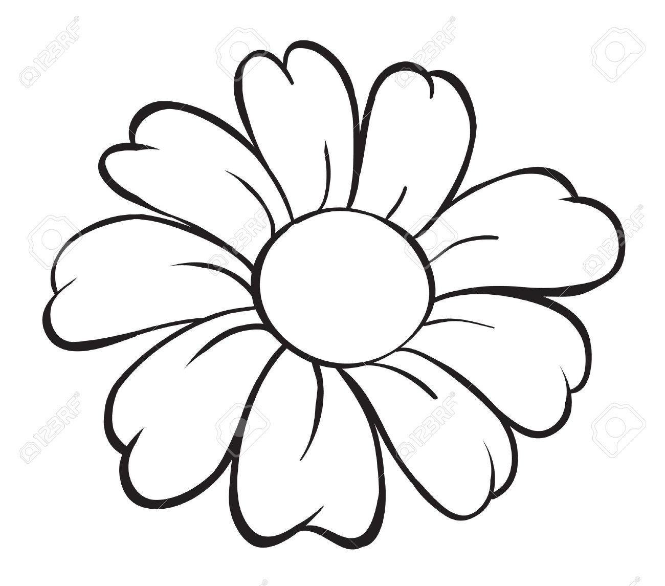 Illustration Of Flower Sketch On White Background Royalty Free