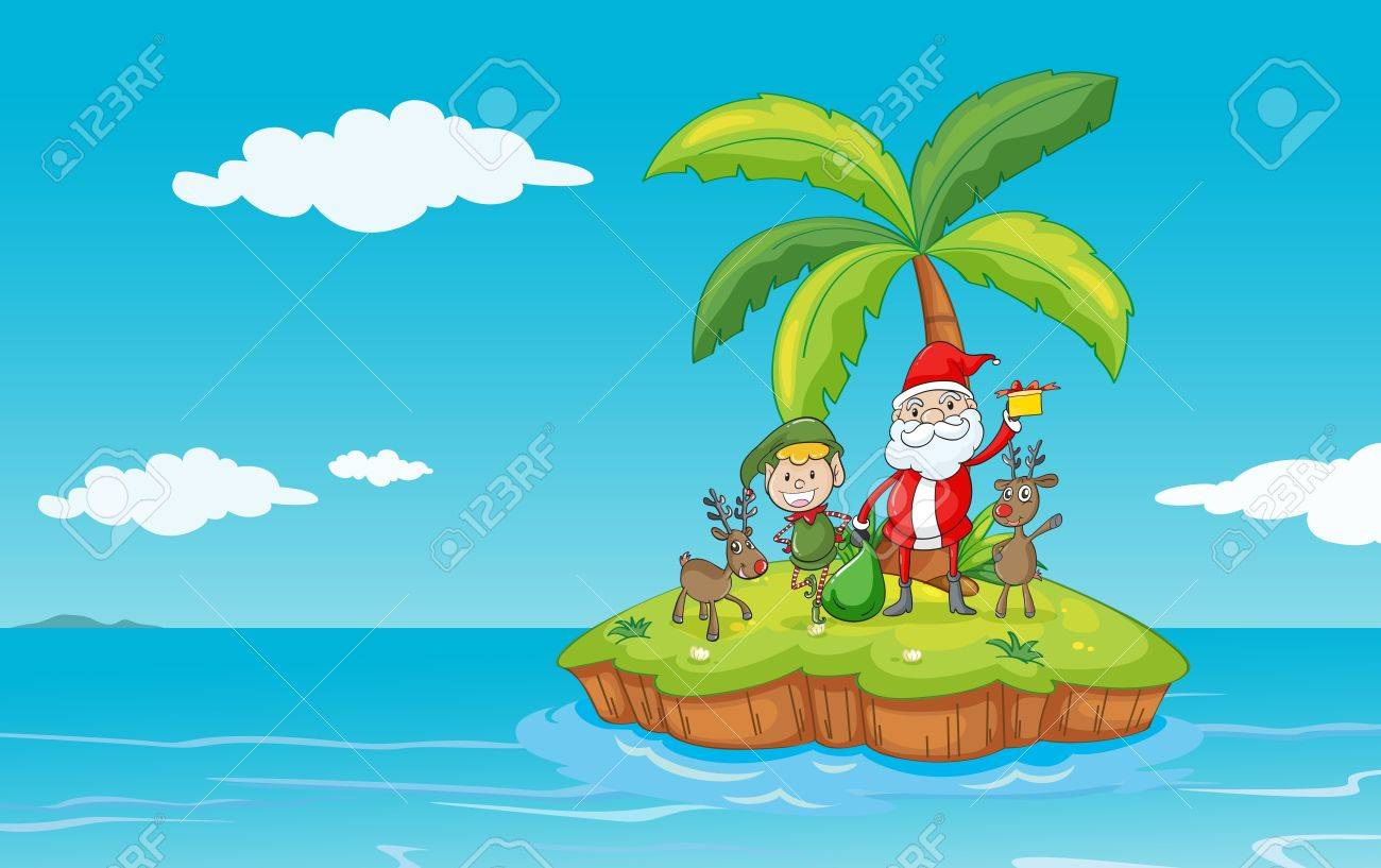 illustration of island in a beautiful nature Stock Vector - 15864401