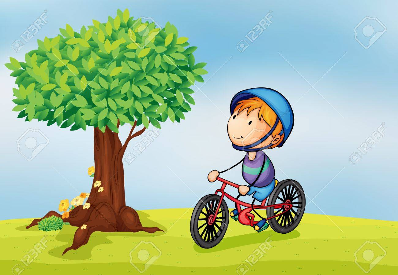 illustration of a boy and a tree in a beautiful nature Stock Vector - 15864467