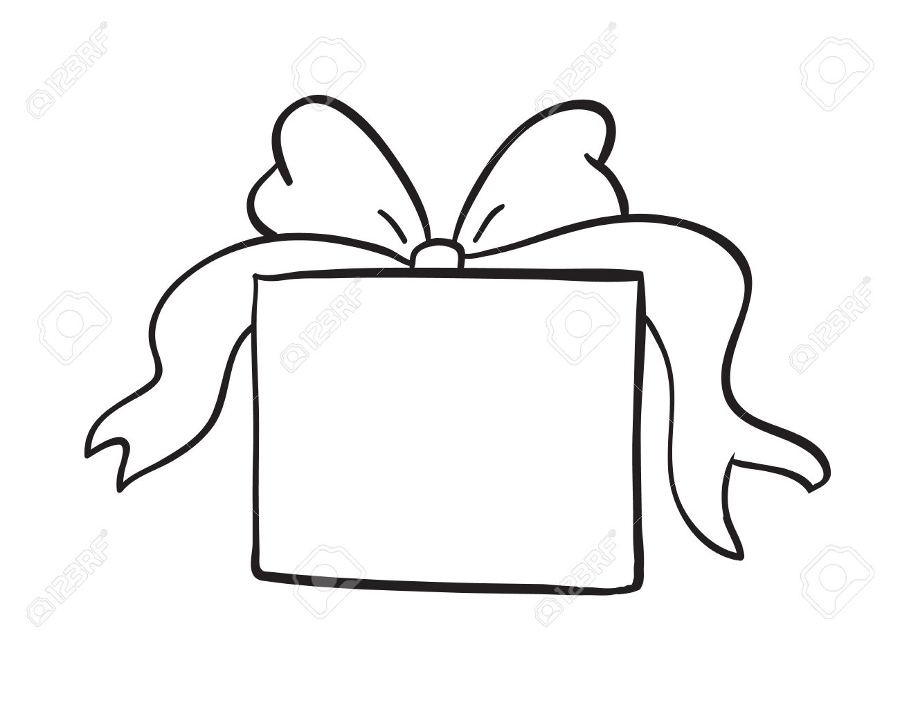 detailed sketch of gift box on a white background royalty free rh 123rf com free gift box clipart gift box clipart images