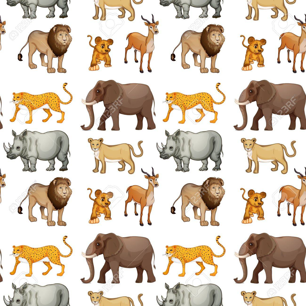 illustration of various animals on a white background Stock Vector - 15899186