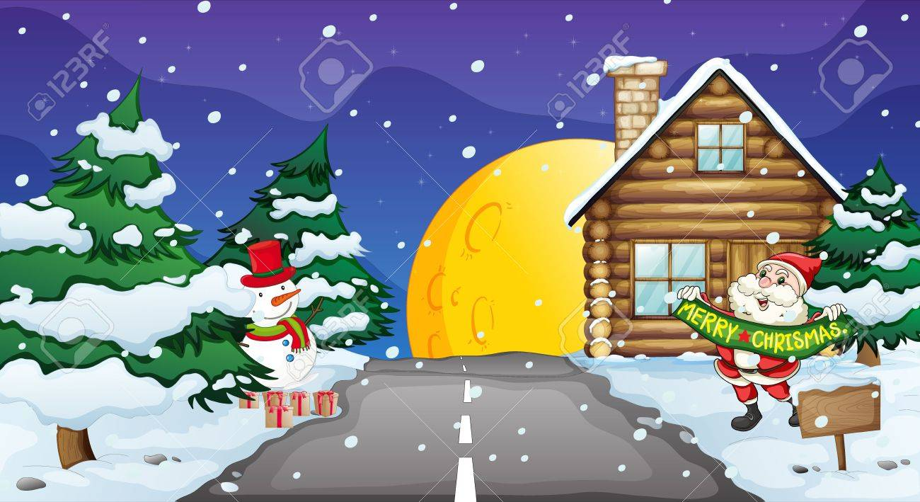 illustration of santa clause and snow man in nature Stock Vector - 15899189