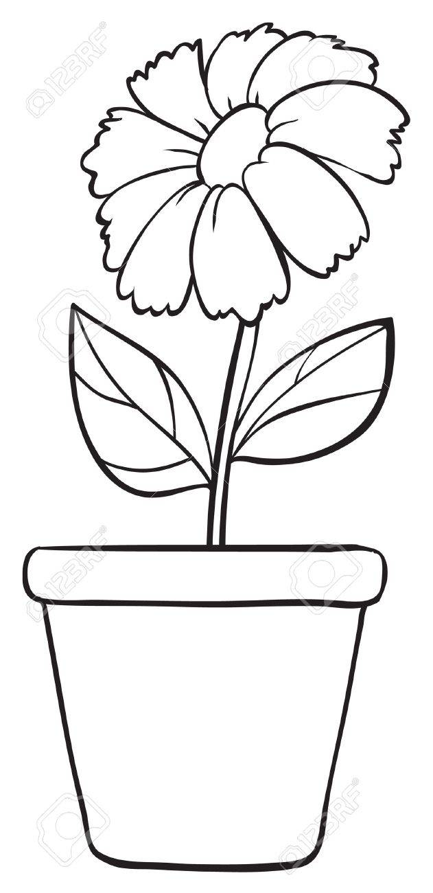 Black and white flower pots - Flower Pot Clip Art Black And White