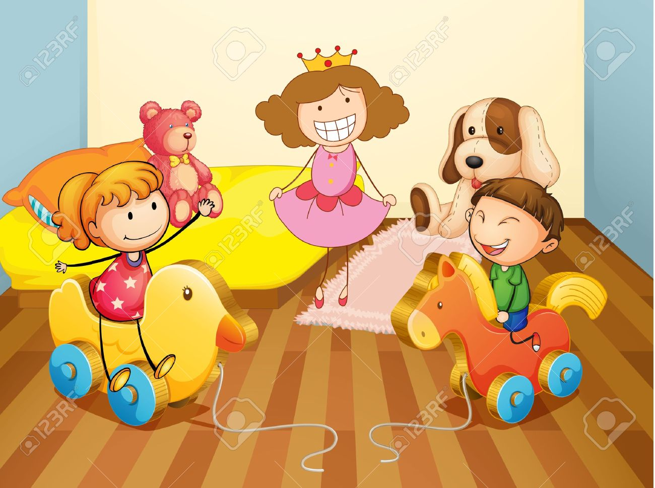 illustration of a kids in bedroom royalty free cliparts, vectors