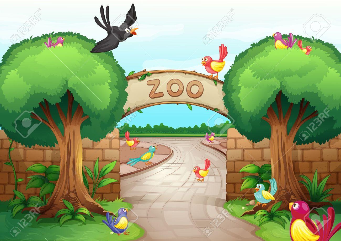 Illustration of a zoo scene Stock Vector - 15913076