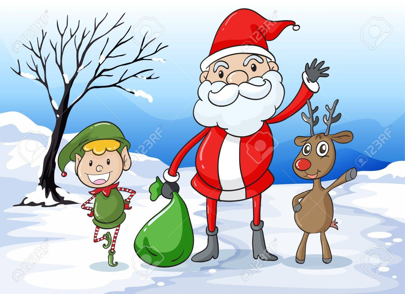Illustration of a santa and friends Stock Vector - 15913038