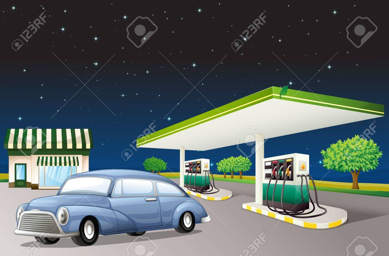 illustration of a house and a gas station in a dark night Stock Vector - 15943811