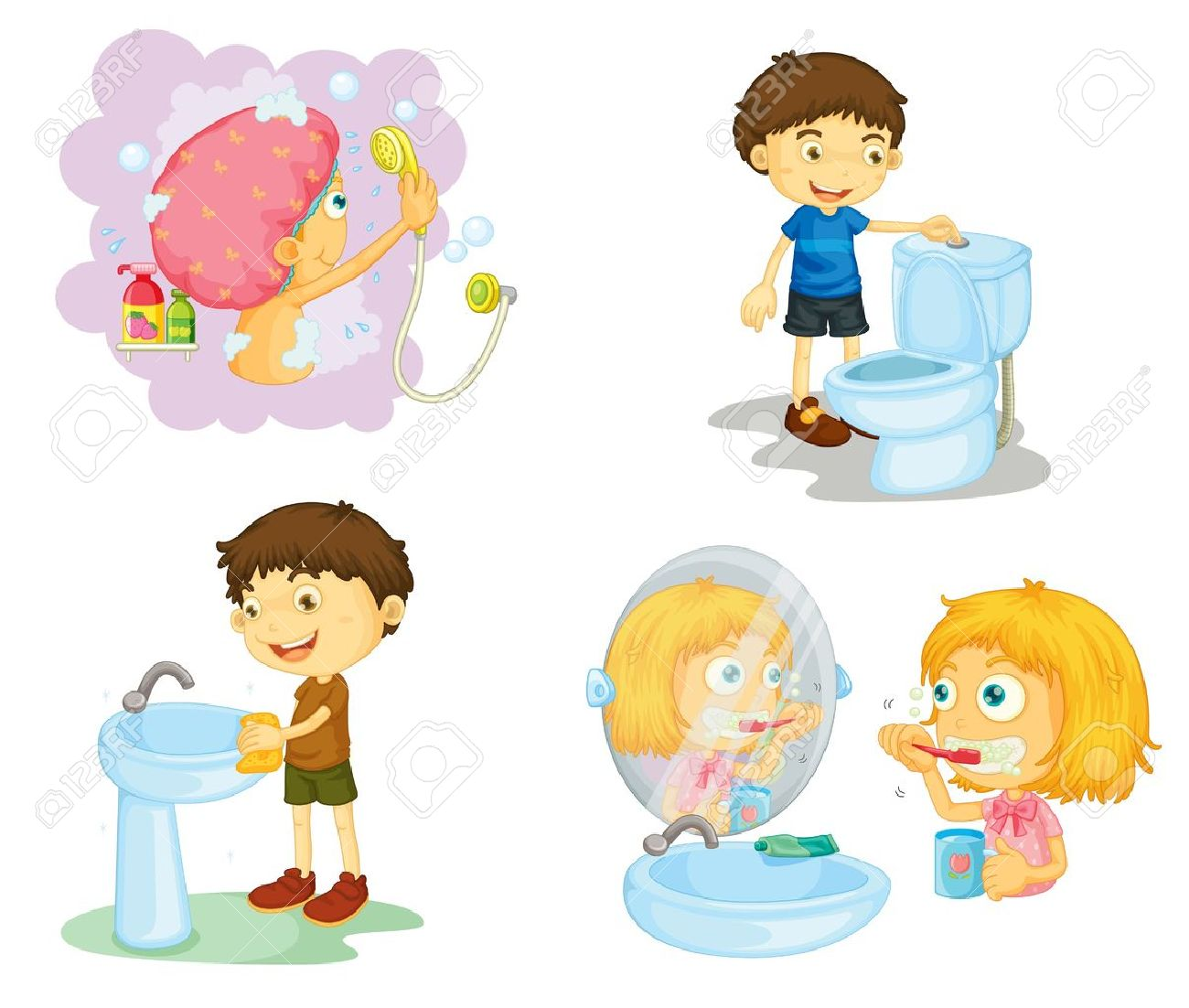 Bathroom Accessories For Children illustration of kids and bathroom accessories on a white