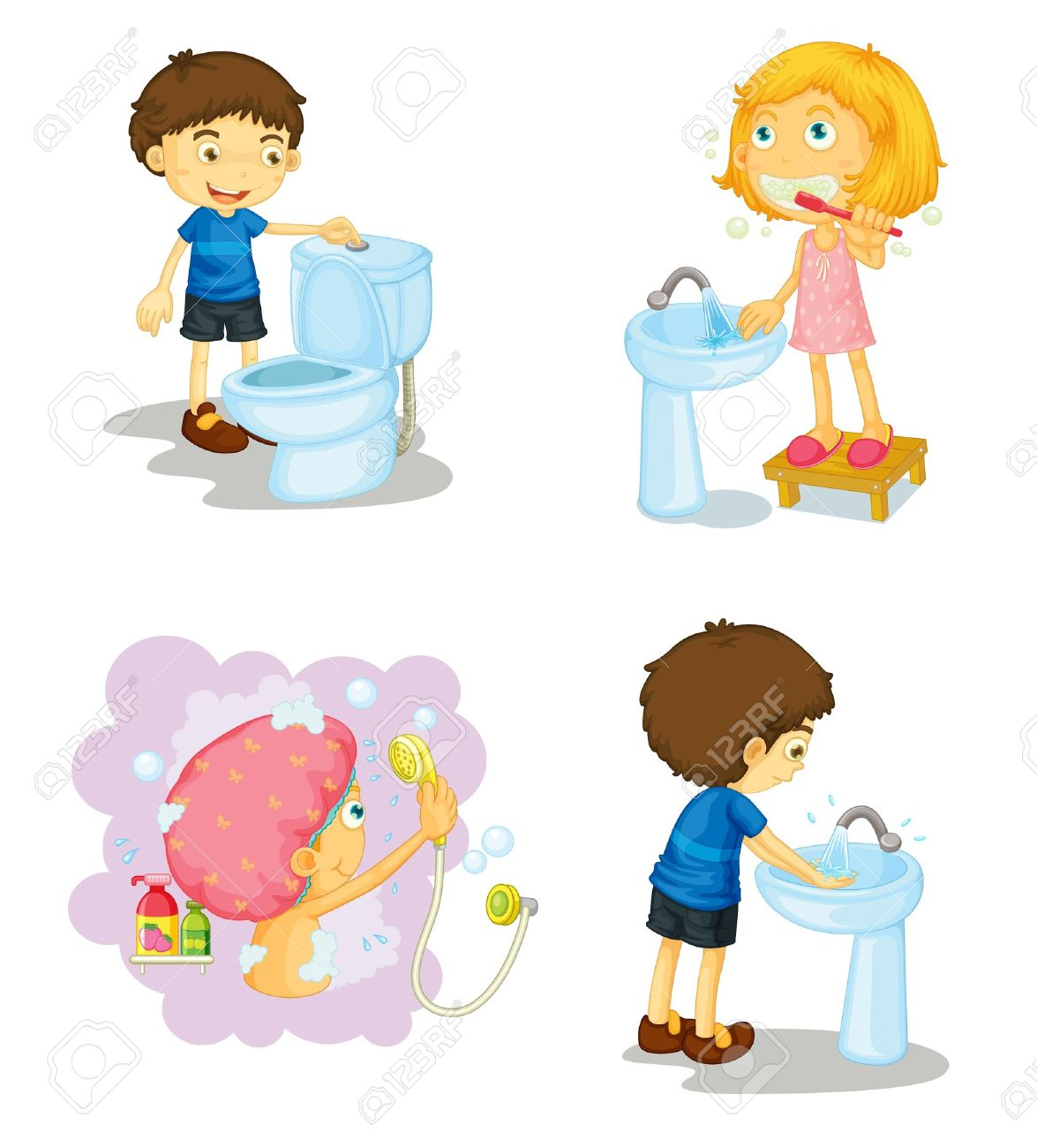 Bathroom sink clip art - Bathroom Sink Illustration Of Kids And Bathroom Accessories On A White Background