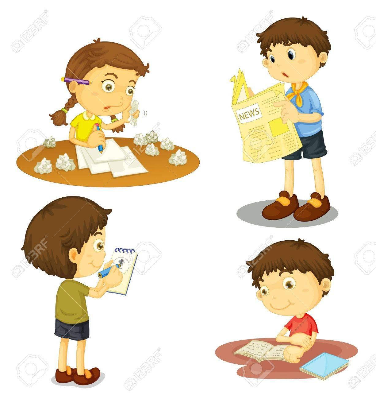 Children writing paper
