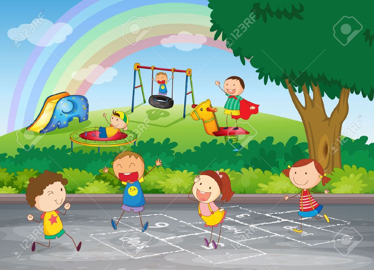 Garden drawing for kids - Garden Friends Illustration Of Kids Playing In A Beautiful Nature Illustration