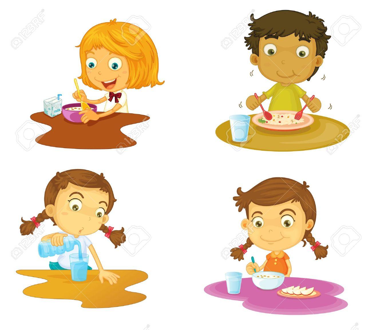 illustration of four kids having food on white background - 15946667