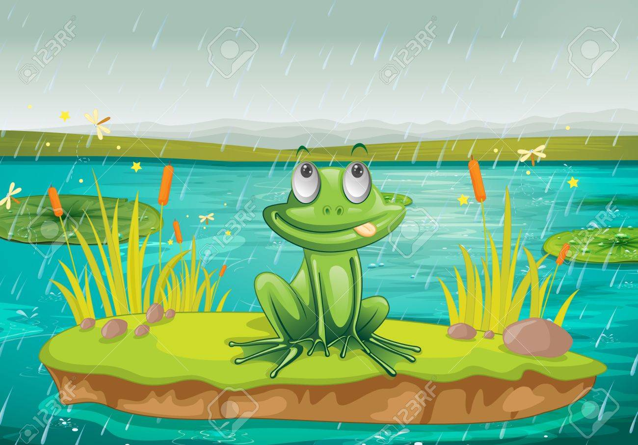 illustration of a frog and a water on a white background Stock Vector - 15946809