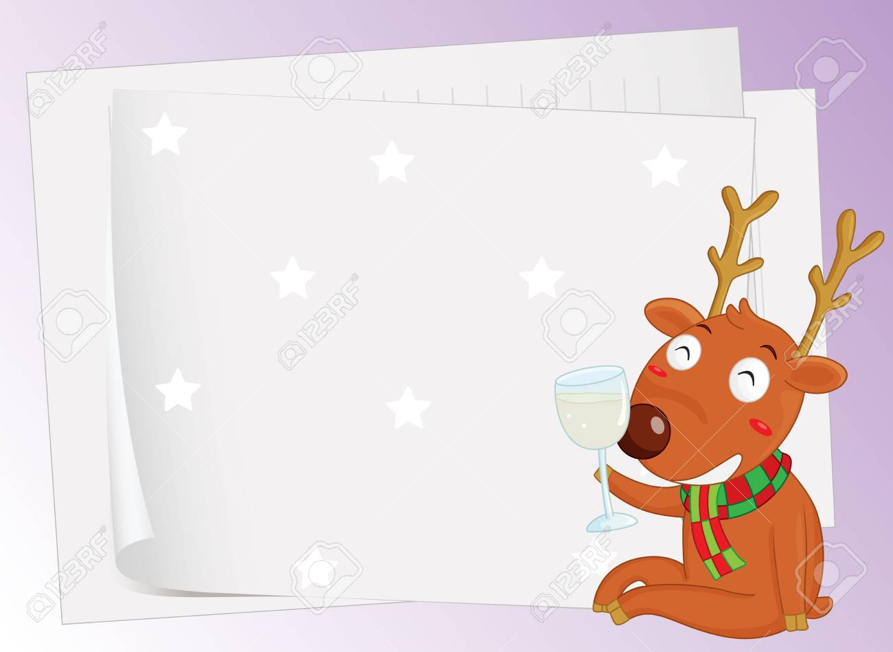 illustration of paper sheets and a reindeer on a color background Stock Vector - 15946774