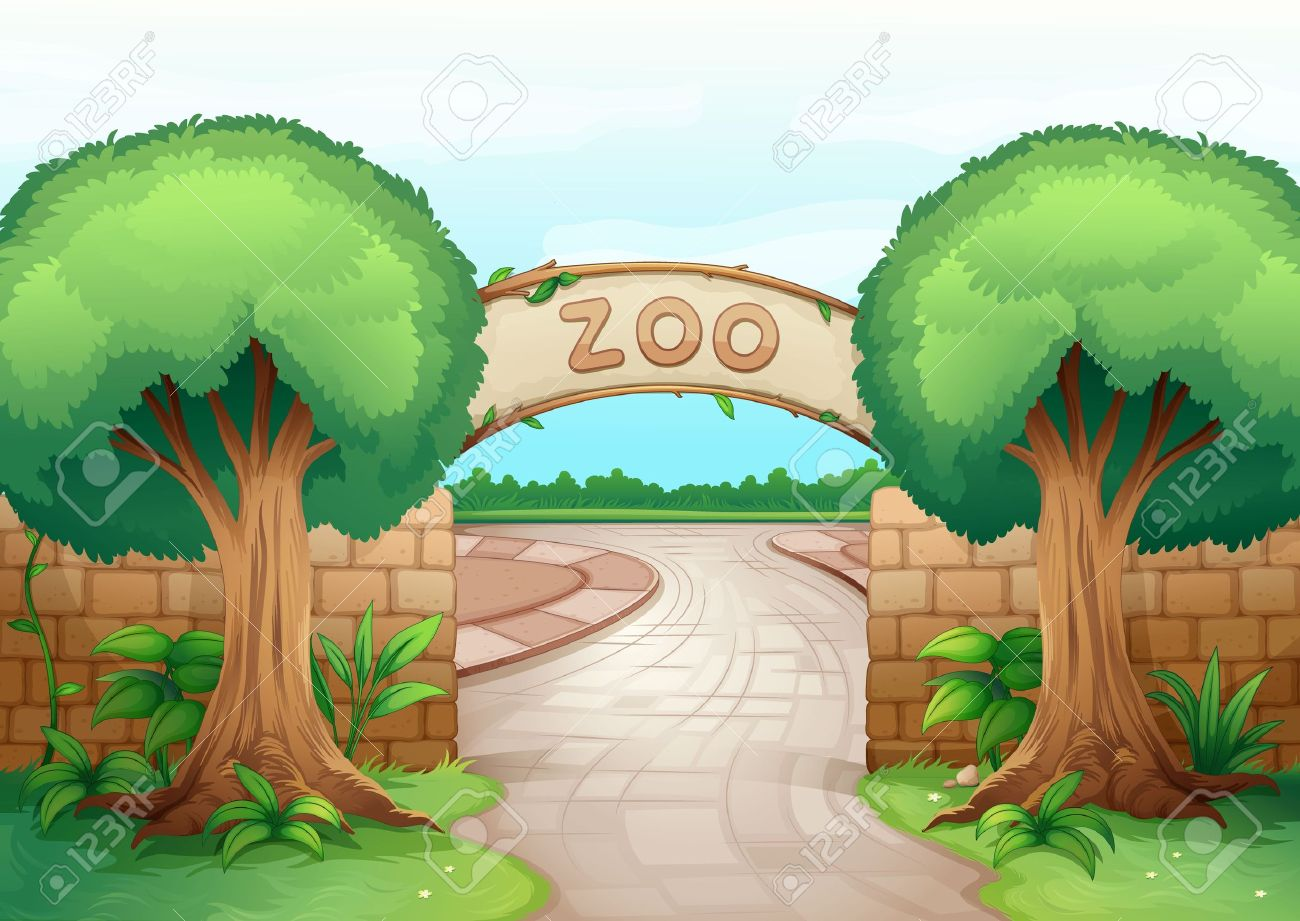 illustration of a zoo in a beautiful nature Stock Vector - 16027238