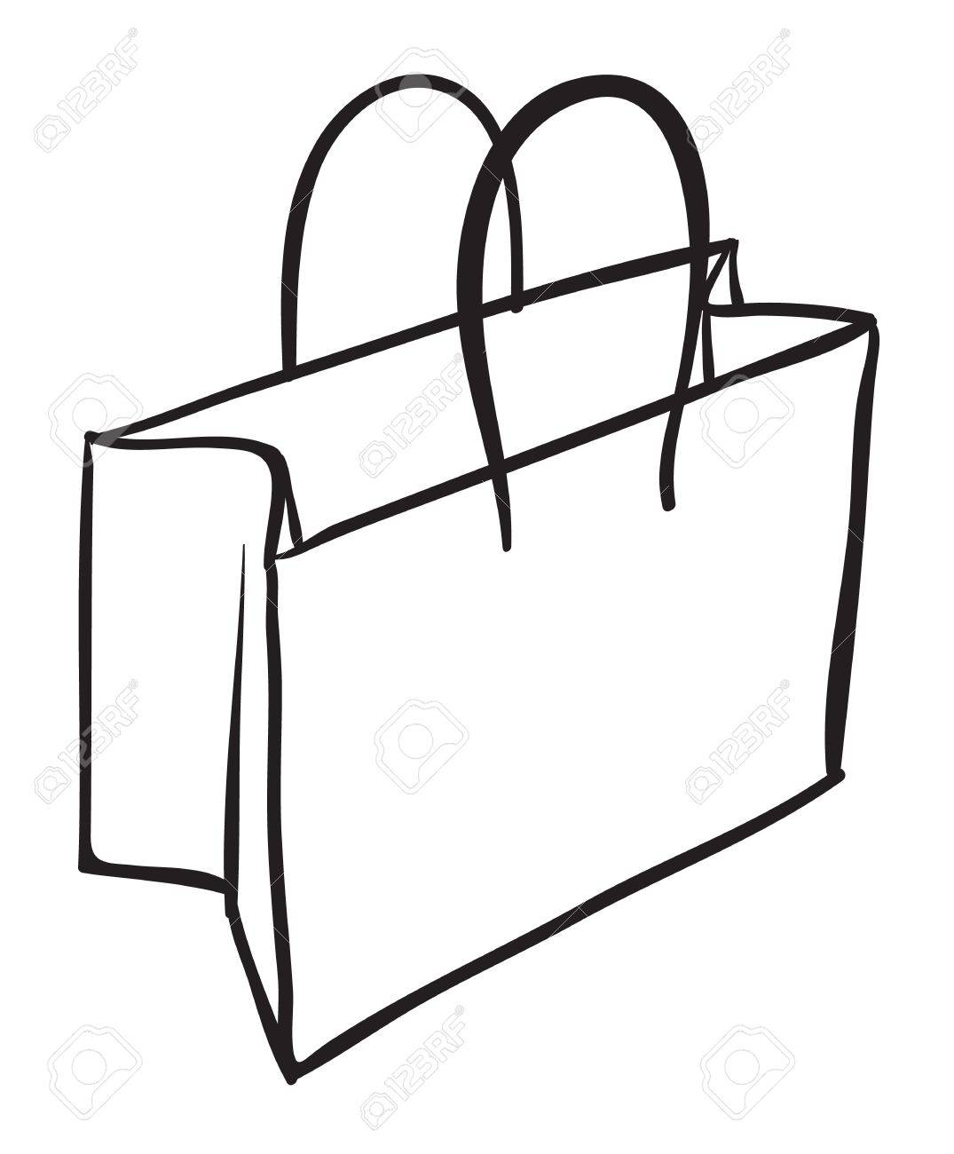 Paper bag sketch - Vector Illustration Of A Bag Sketch On White Background
