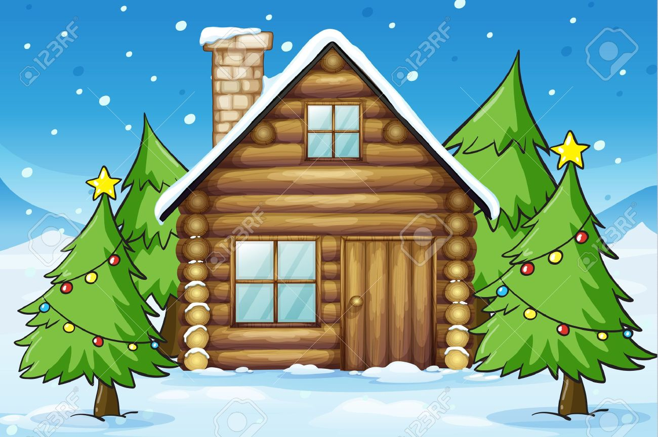 illustration of a wooden house in snowy land Stock Vector - 16115731