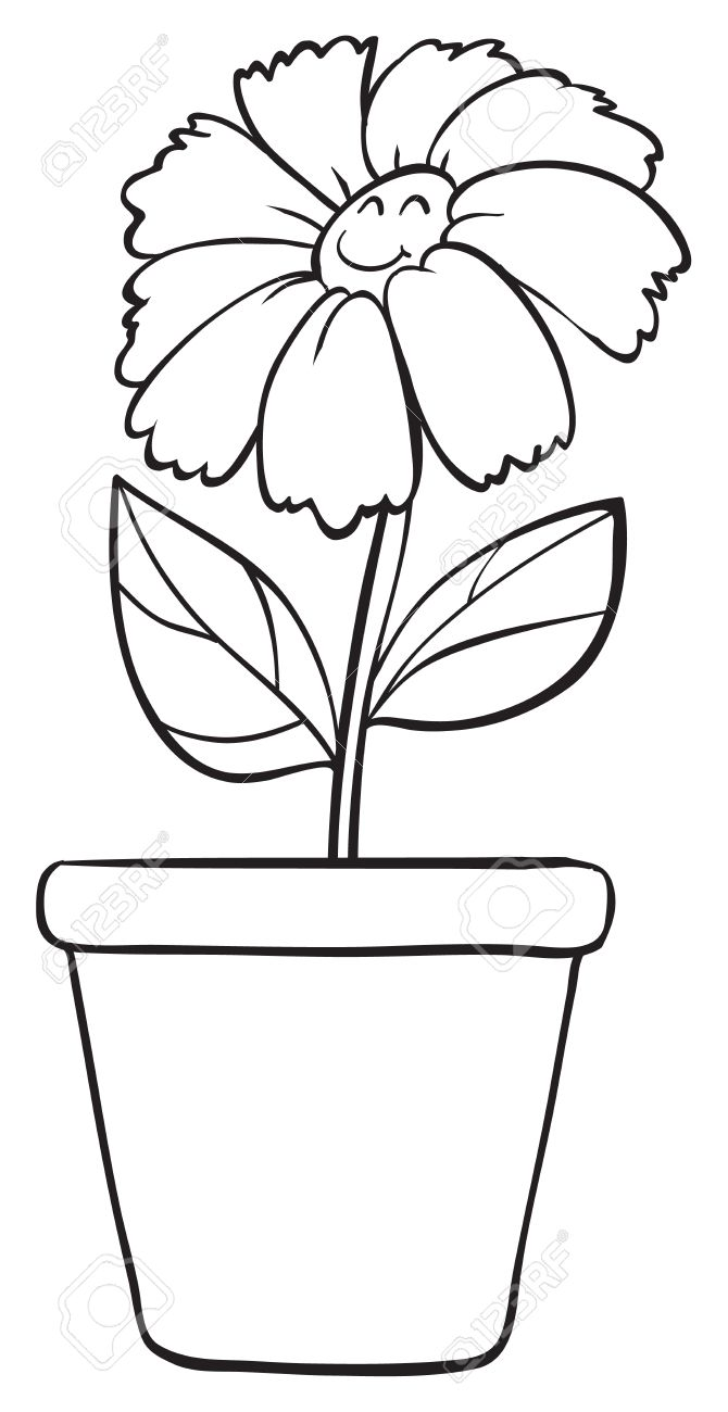 Illustration of a blue flower and pot sketch on white background stock vector 16115079