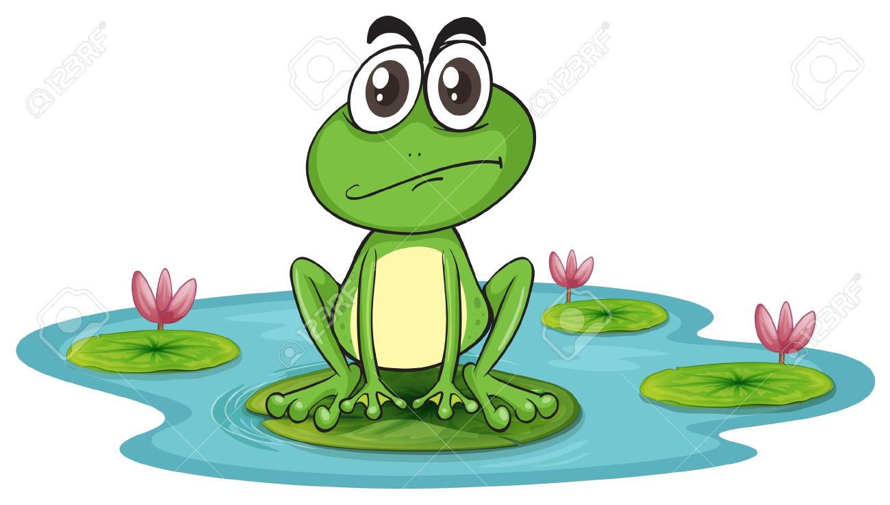 ilustration of sad and green frog in water with lotus Stock Vector - 16116878