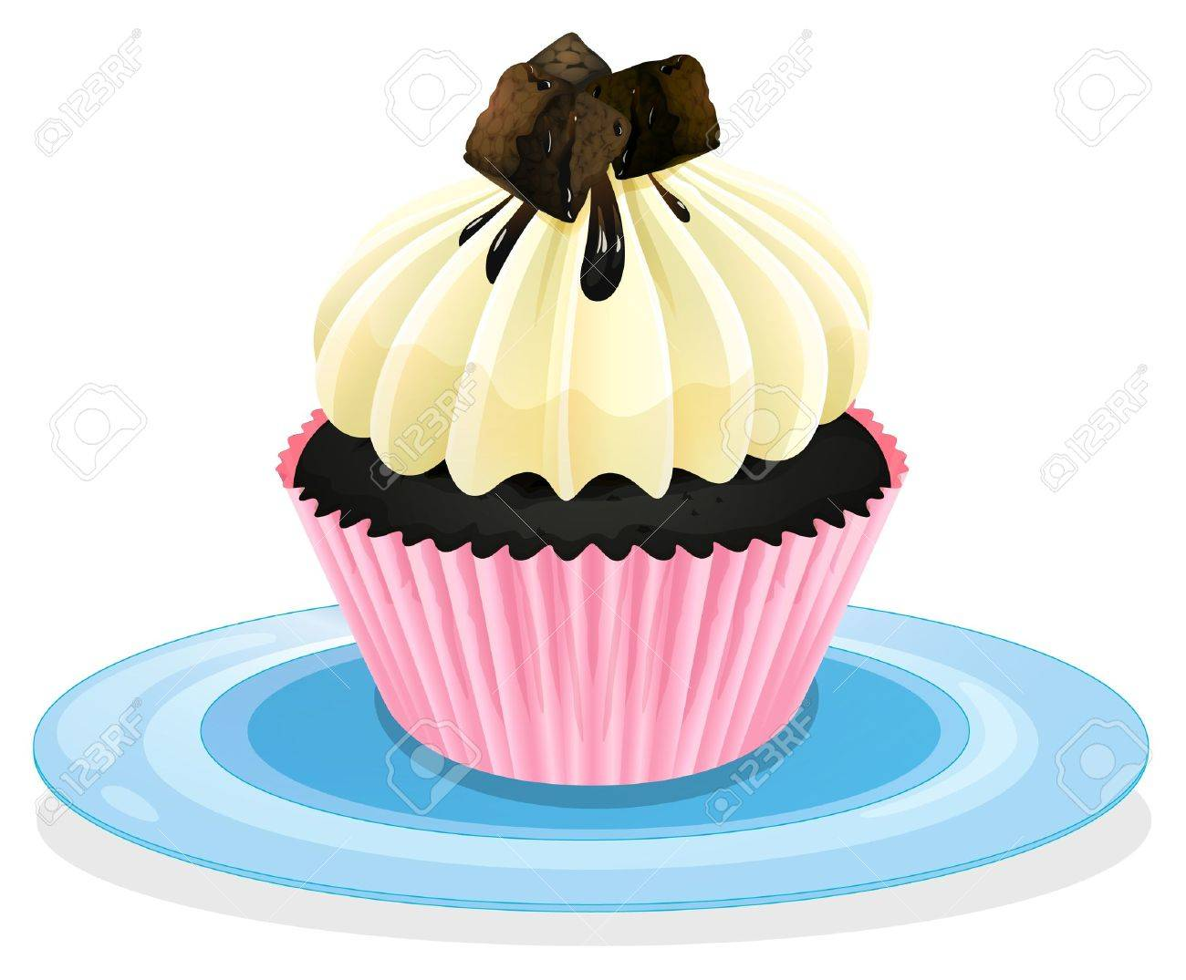 Illustration of an isolated cupcake on a white Stock Vector - 16105535