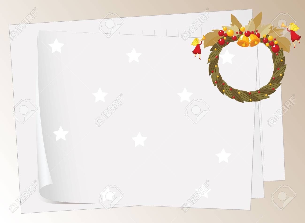illustration of paper sheets and bells on a white background Stock Vector - 16140941