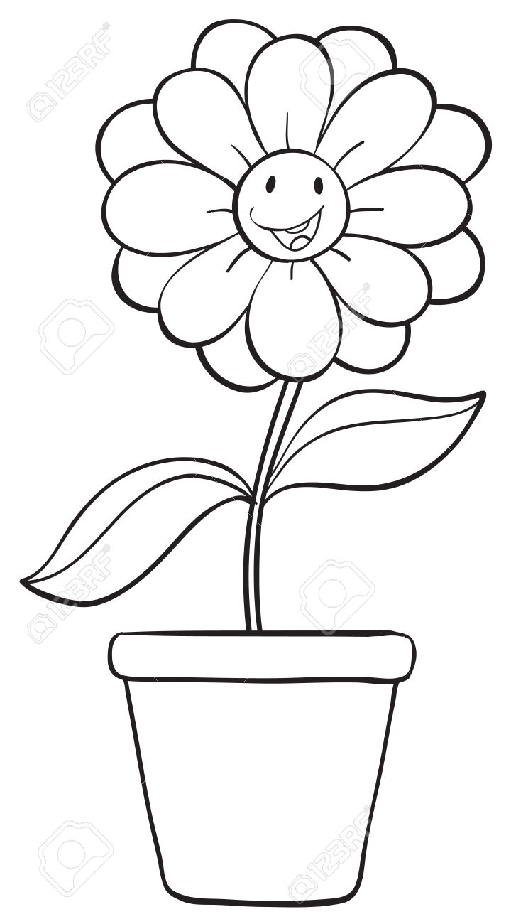 Black and white flower pots - Illustration Of A Flower And A Pot Sketch On White Background Stock Vector 16140949