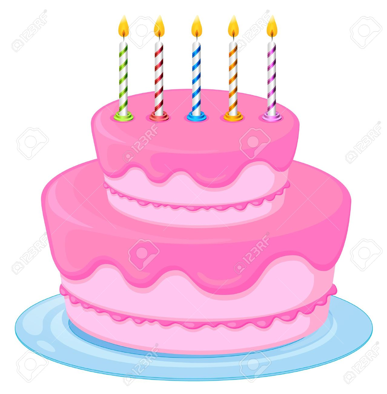 Superb Illustration Of A Pink Birthday Cake On A White Background Royalty Funny Birthday Cards Online Elaedamsfinfo