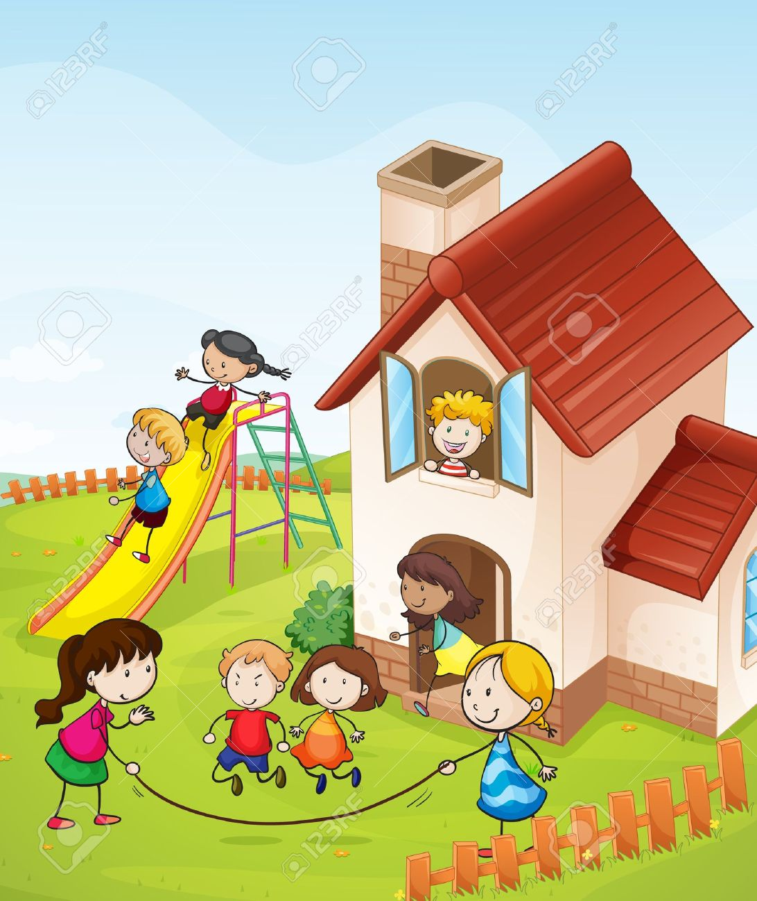 illustration of kids and a house in a beautiful nature Stock Vector - 16188285