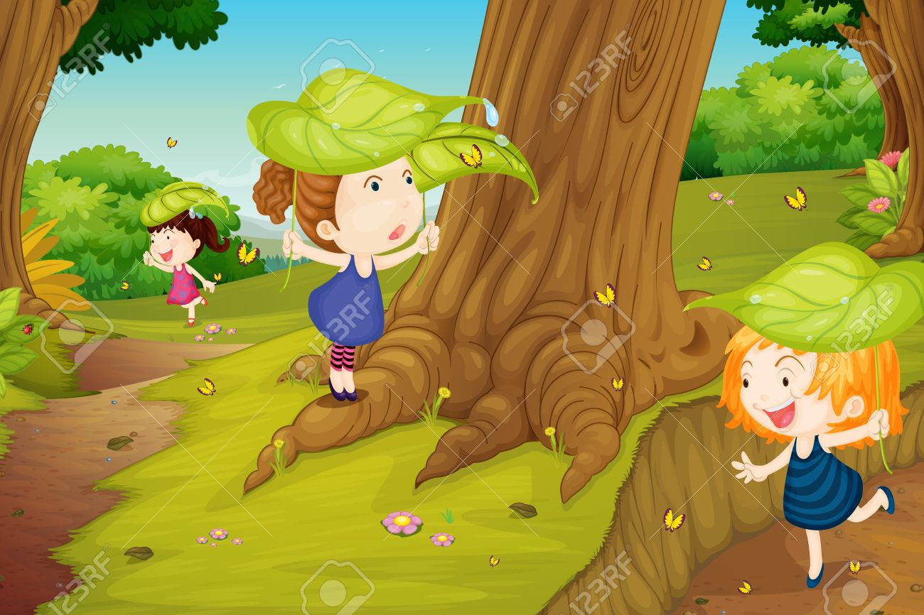 illustration of girls catching butterflies in nature Stock Vector - 16188387