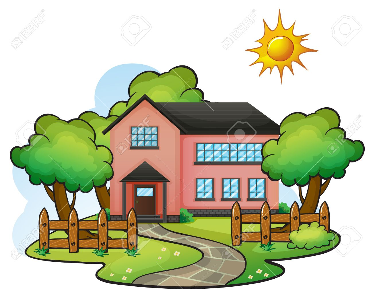 illustration of a house in a beautiful nature Stock Vector - 16188247