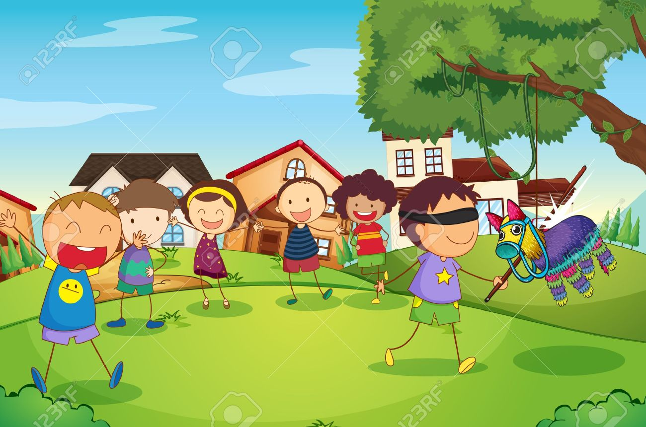 illustration of kids playing game in nature Stock Vector - 16237201