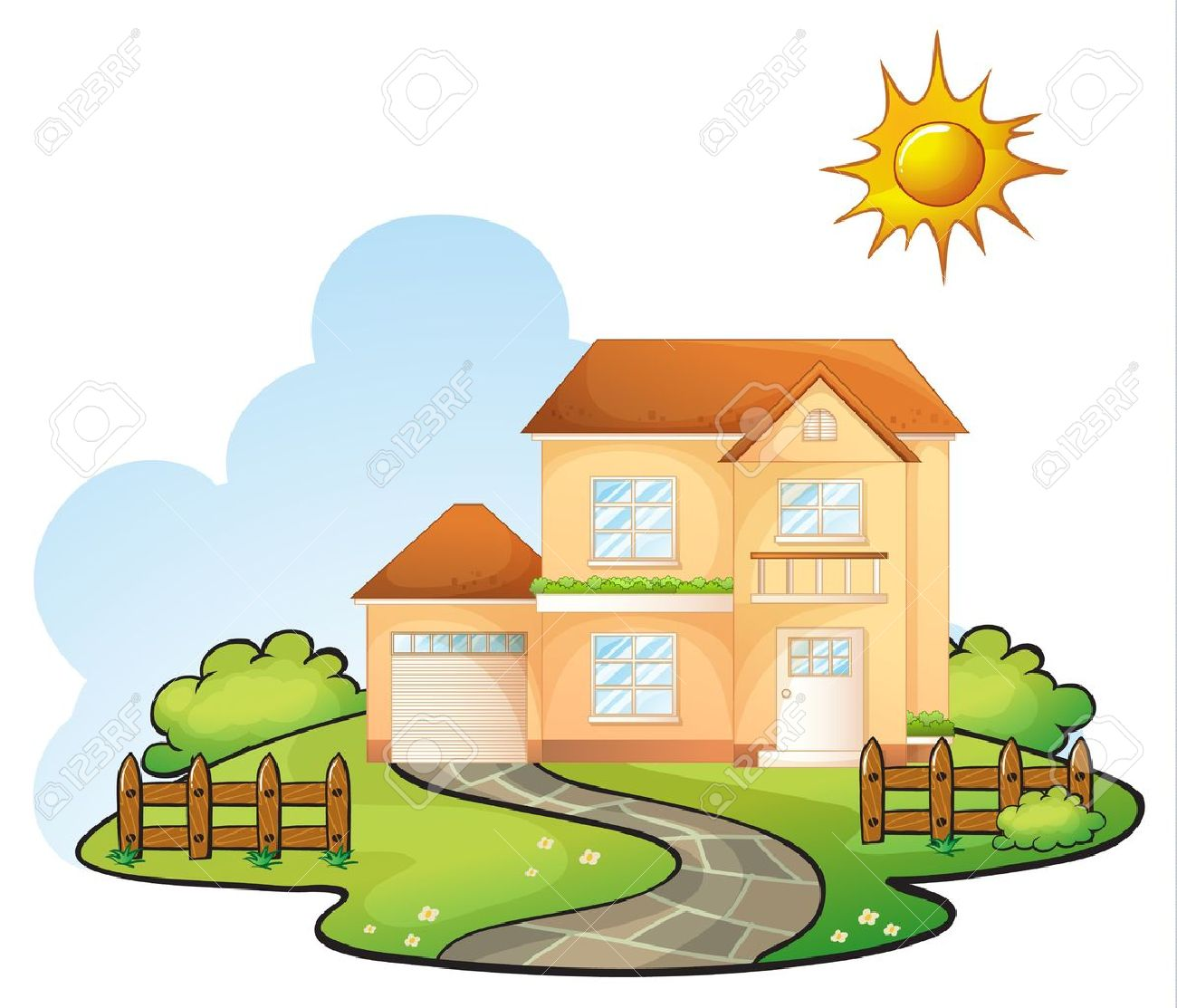 Illustration Of A House In A Beautiful Nature Royalty Free - Big cartoon house