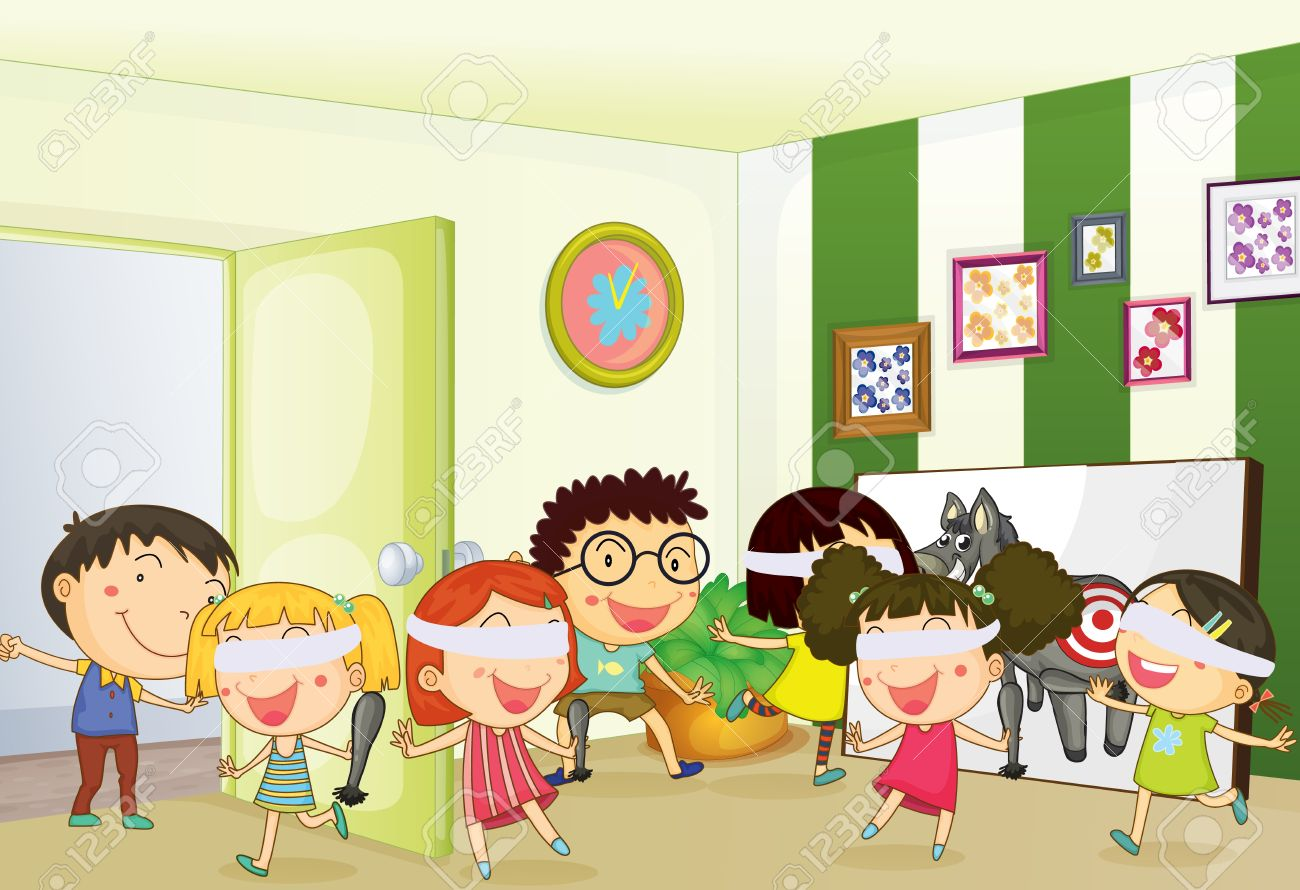 Illustration Of Kids Playing Games In A Room Royalty Free Cliparts ...